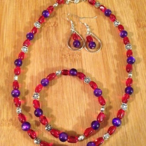 red & purple necklace