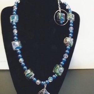 Aqua Pearl w Sq Swirl & Pendant Necklace Set