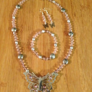 Pink Beads & Butterfly Necklace Set