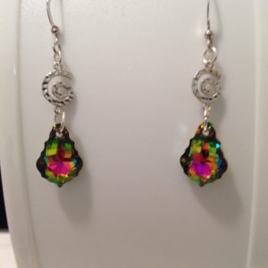 Spiral w Rainbow Crystal Earrings