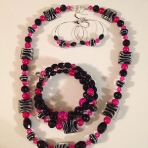 Zebra Print & Hot Pink Necklace Set