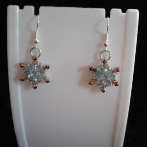 Snowflake w Light Blue stones Earrings
