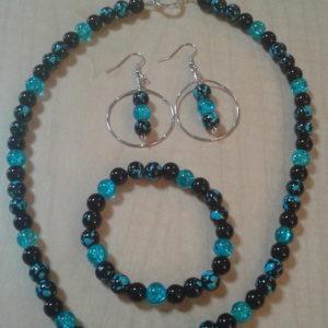 Turquoise & Black Swirl