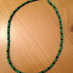 Green & Black Wood Beads Unisex Necklace