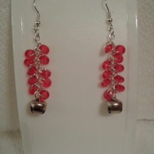 Red Rondells w Bell Earrings