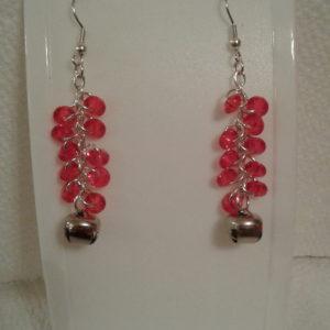 Red Rondells w Bell Earrings