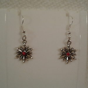 Silver Snowflake w Red Stone Earrings