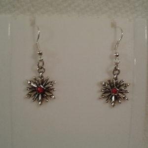 Silver Snowflake w Red Stone Earrings
