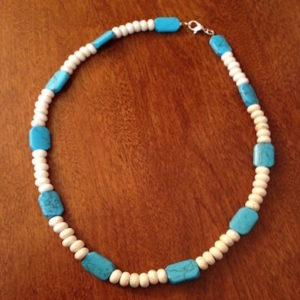 Turquoise & Bone Crackle Beads Unisex Necklace