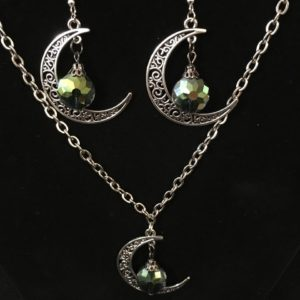Crescent Moon w Multi Faceted Stone 3 pc Set
