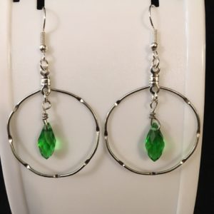 Green Teardrop in Hoop